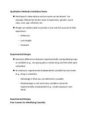 Qualitative Methods Limitations Notes