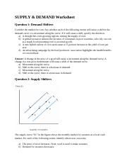 2 Supply & Demand Worksheet (Answers)