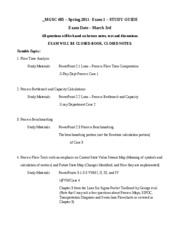 MGSC 485 Spring 2011- Exam 1 STUDY GUIDE