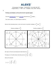 finding coordinates oin the unit circle for special angles