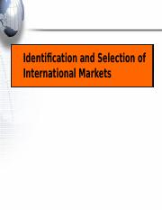 Identification & Sections of International Market.ppt