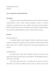 Introduction To Chemical Reactions Lab Report.docx