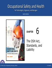 The OSH Act, Stadarsds, and Liability Chapt 6