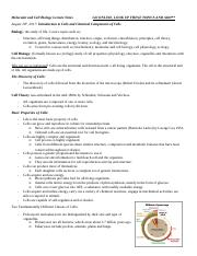 Molecular and Cell Biology Lecture Notes for Exam One.docx
