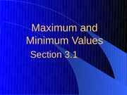 3.1 Maximum and Minimum Values