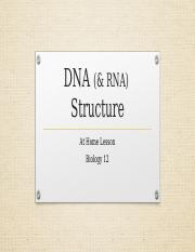 01 - DNA and RNA Structure -at home assignment