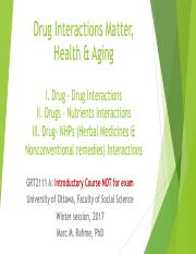 Lecture 1 (Introduction on Drug Interactions, Health & Aging)