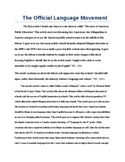 The Official Language Movement