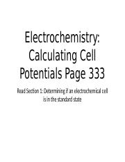 Electrochemistry - Calculating Cell Potentials