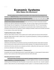 Economic Systems - Who Makes the Decisions.doc