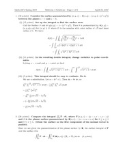 Exam 3 Solution Spring 2007 on Multivariable Calculus