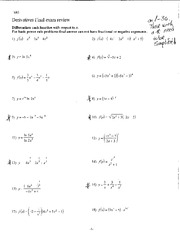 1680 Final exam review- Derivatives