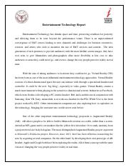 Entertainment Technology Report