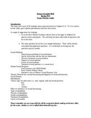 HS Spring 2011 EXAM 3 Review Guide