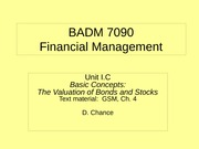 BADM 7090 IC 2011 - Basic Concepts (The Valuation of Stocks and Bonds)