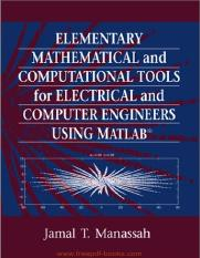 Elementary Mathematical And Computational Tools For Electrical And Computer Engineers Using Matlab.p