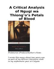 A Critical Analysis of Ngugi wa Thiong'o's Petals of Blood