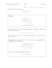 Exam 2 Solution on Differential Equations and Linear Algebra
