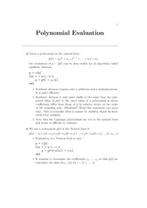 polynomial evaluation notes