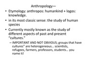 Lecture 1, Anthropology Introduction