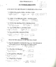Worksheet on Solutions & Molality