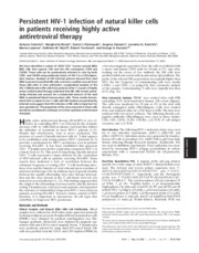 persistant HIV and antiviral therapy