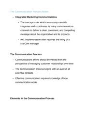 The Communication Process Notes