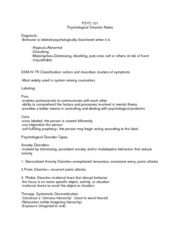 PSYC 101 Psycological Disorders Notes