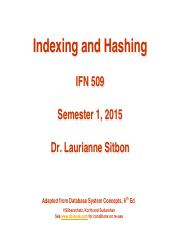 IFN509 - Week 4 - Indexing and Hashing
