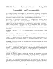 Lecture Notes on Computability and Noncomputability