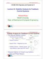 Lecture 24- Review- Nyquist Plots, Nyquist Stability Criterion