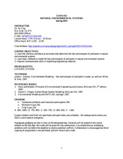 Syllabus on Natural Environmental Systems Spring 2015