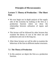 Lecture 7: Theory of Production/The Short Run Econ 1150