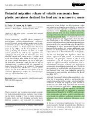 Potential Migration Release of Volatile Compounds From Plastic Containers Destined for Food Use in M
