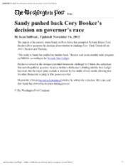 11-16-12 WP Sandy pushed back Cory Booker's decision on governor's race