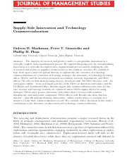 3_Supply Side Innovation & Technology Commercialization_Journal of Management Studies_2009