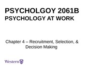 Lecture 3 Recruitment Selection Decision Making