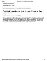 The Re-Explosion of U.S. House Prices Is Over -  Businessweek