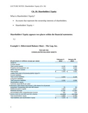 Lecture Notes - Ch. 18 Shareholders' Equity