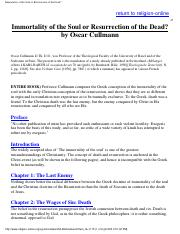 Cullmann, Oscar - Immortality of the Soul or Resurrection of.pdf