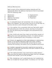 Handout Defense Mechanisms 2 Handout413 Defensemechanisms
