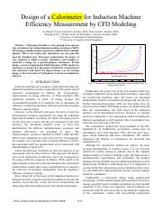 Design of a Calorimeter for Induction Machine Efficiency measurement by CFD Modeling - IEEE Bradley.