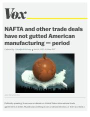 NAFTA and other trade deals have not gutted American manufacturing — period - Vox