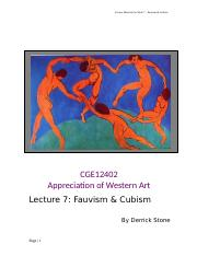 cubism essay visual analysis of cubism the leonard lauder  21 pages cge 12402 sem lecture 7 student package