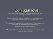 conjugal love and totality