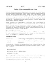 Lecture Notes on Turing Machines and Reductions