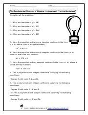 fundamental theorem of algebra worksheet.pdf   Name Date ...