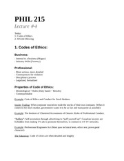 Lecture 4-Oct 4th – Code of Ethics, Whistle-Blowing