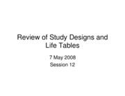 Lecture #6: Life Tables