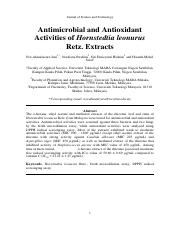 Antimicrobial and Antioxidant Activities of Hornstedtia leonurus Retz. Extracts